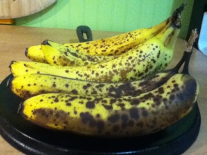Yes! We have old bananas, we have old bananas today.  So let's make banana bread.