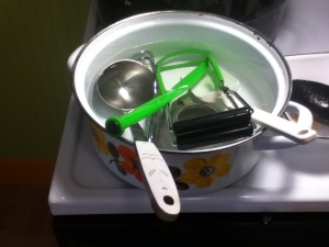 Here are all the tools getting sanitized in a boiling water bath.