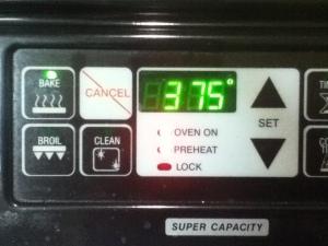Preheat that oven to 375 Fahrenheit.