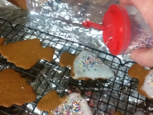 If you want a little more flare, spread a thin layer of icing on the cookies and sprinkle with sprinkles.