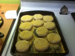 As noted in the recipe the rounds got just a little puffy during this second rise. Next time I'll let them go a little longer, unless my kitchen is warm that day.