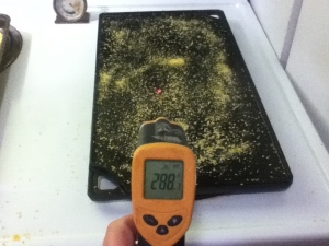 I used a laser thermometer to make sure the temperature was just about even across the surface of the griddle. It was still a little hotter i the spots right over the burners.