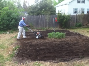 Once the machine was working, turning over the soil was easy. Look at Dad go!