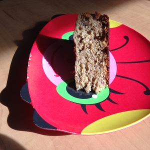 Wedges seemed to be the most practical serving shape. Look how dashing this banana bread is on a festive ladybug plate!