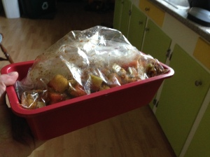 Put the bag in something rigid before tucking it in the fridge. A loaf pan works perfectly.