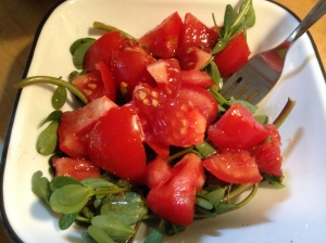 This is a super-simple purslane salad. Purslane and perfectly ripe tomato drizzled with Italian vinaigrette. The acidity of the tomato enhances the purslane.