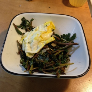 Here is the result- seasoned with salt and pepper, topped with an egg, and enjoyed as a quick weekend lunch..