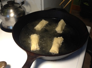 We fried our egg rolls in a big 'ol cast iron skillet.